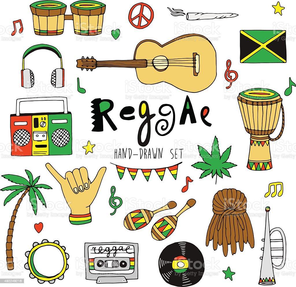 Vector reggae set vector art illustration