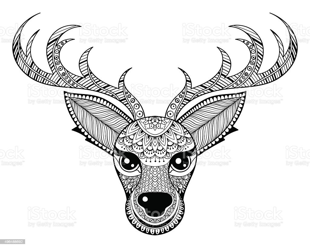 Free coloring page deer - Vector Reindeer For Adult Anti Stress Coloring Pages Royalty Free Stock Vector Art