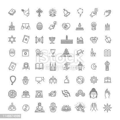 Religion related icons. Thin vector icon set