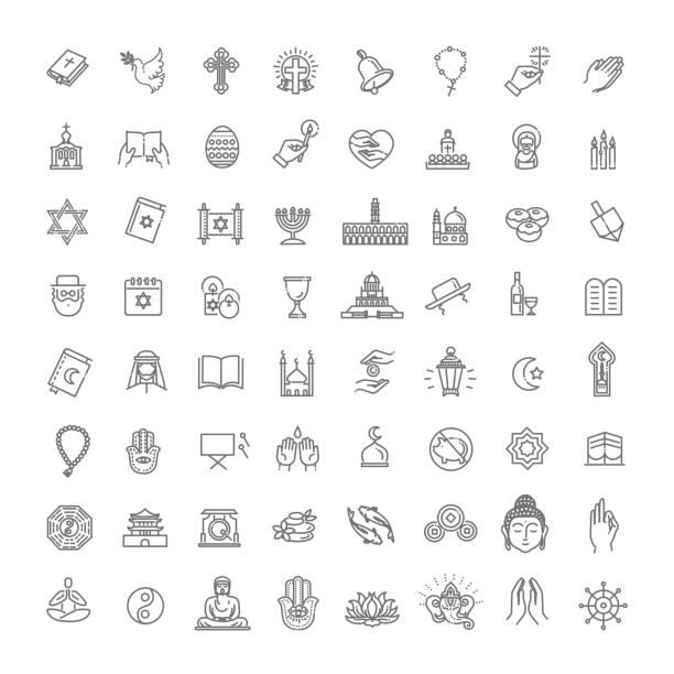 ikony religii wektorowej ustawiają cienki styl. wektor - judaizm stock illustrations