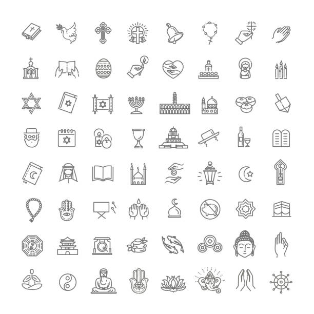 Vector religion icons set thin style. Vector Religion related icons. Thin vector icon set judaism stock illustrations
