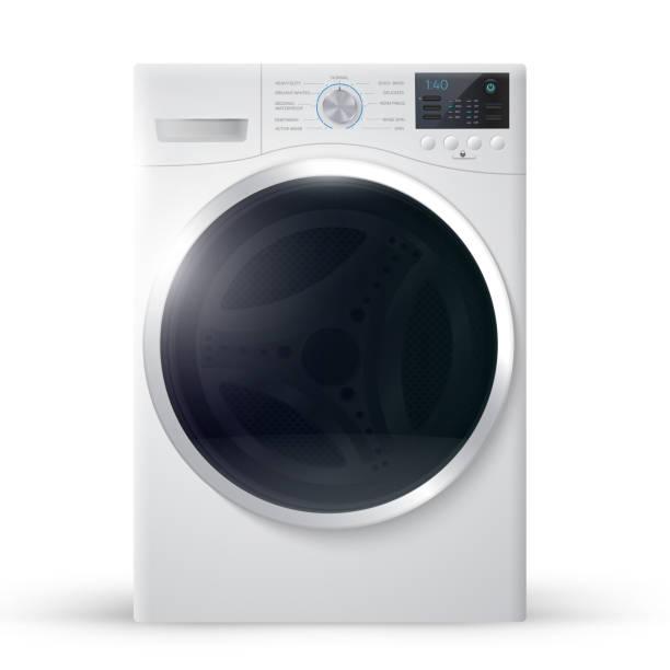 vektor-illustration realistisch unterlegscheibe - waschmaschine stock-grafiken, -clipart, -cartoons und -symbole