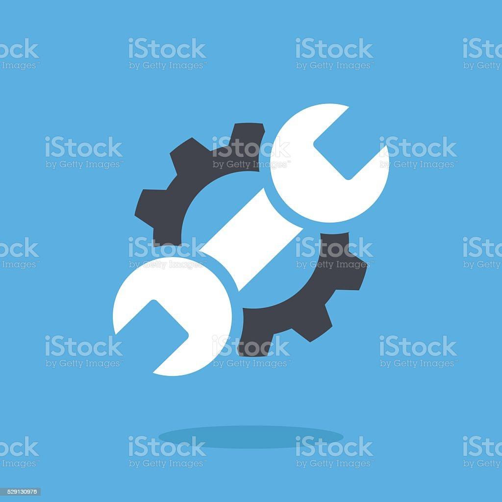 Vector repair icon. Blue wrench, black gear. Logo vector illustration vector art illustration