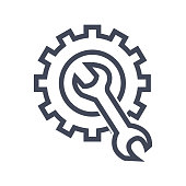 Vector repair icon. Blue wrench, black gear. Logo vector illustration