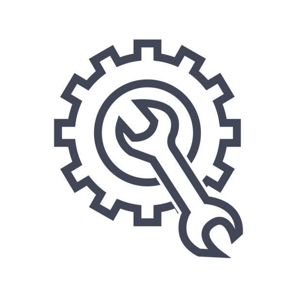 ilustraciones, imágenes clip art, dibujos animados e iconos de stock de vector de de iconos de reparación. azul llave, negro velocidad. logotipo de ilustración de vectores - reparador