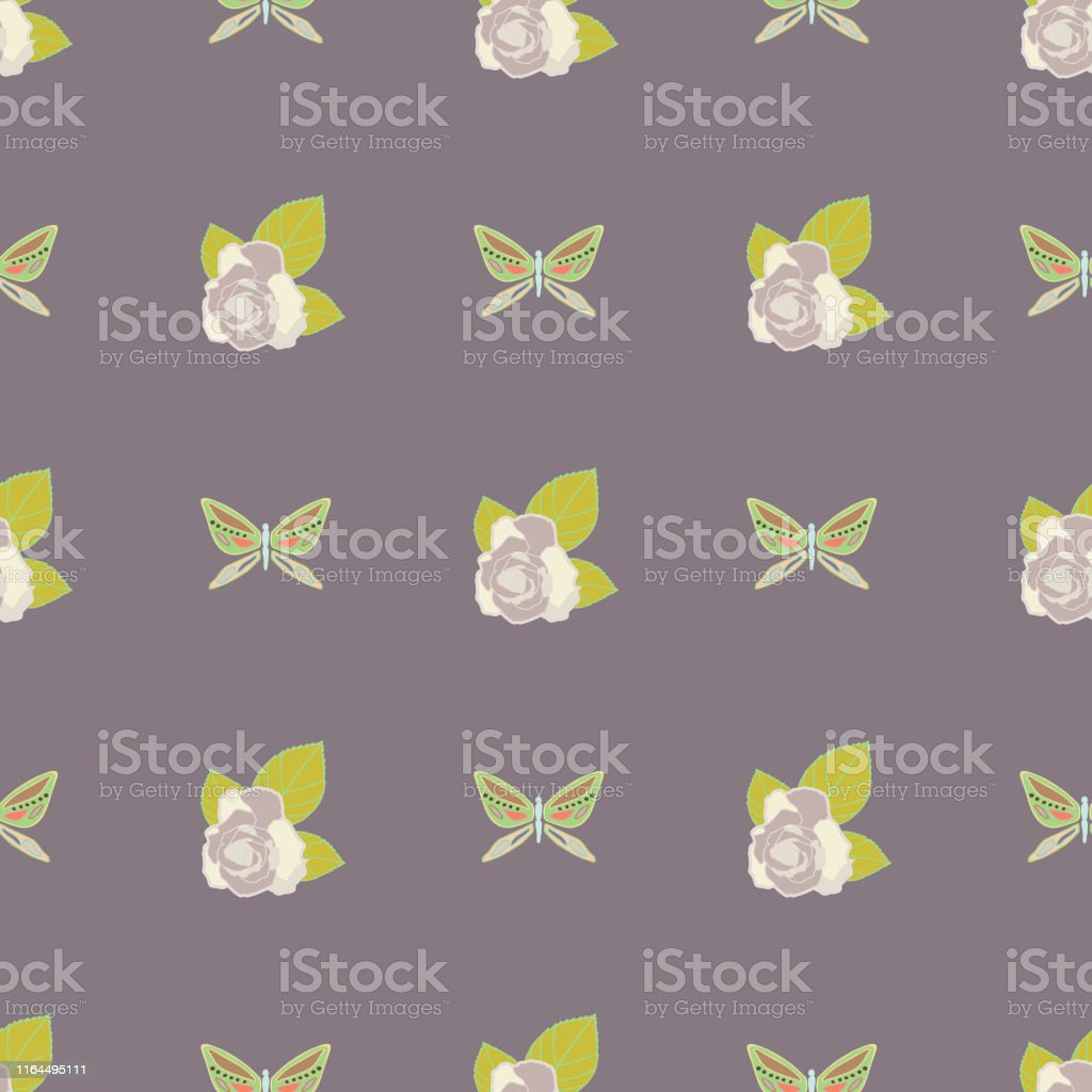 Multi-colored vector repeat seamless pattern. Illustration with roses...