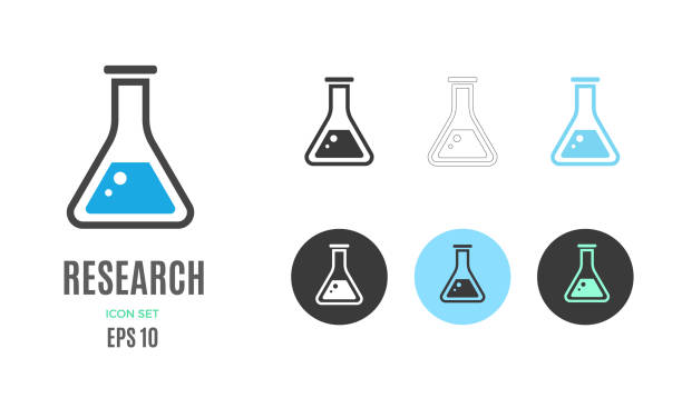 Vector research infographic template. Color icon for your illustration or presentation Vector research infographic template. Color chemical reaction icon, design for your illustration or presentation laboratory glassware stock illustrations