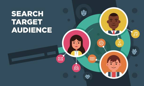 Vector research people searching target audience illustration Vector research people concept searching target audience illustration in flat style audience stock illustrations