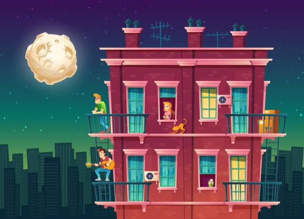 stockillustraties, clipart, cartoons en iconen met vector meerdere verdiepingen woonappartement nachts, buurt - buren