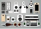 Vector restaurant cafe design set, corporate identity mock up template.
