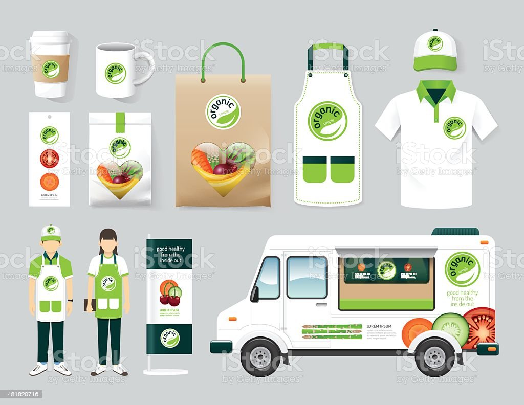 Vector restaurant cafe design set street food truck shop, flyer vector art illustration