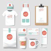 Vector restaurant cafe set flyermenu package t-shirt cap uniform design