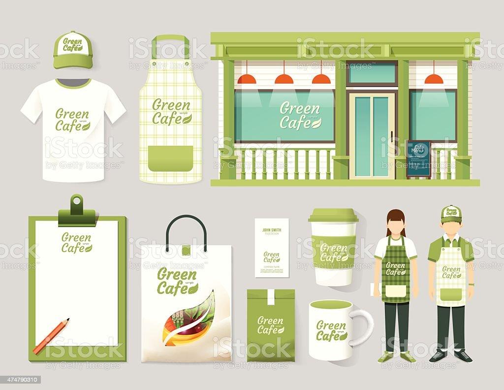 Vector restaurant cafe set shop front design, mock up template. vector art illustration
