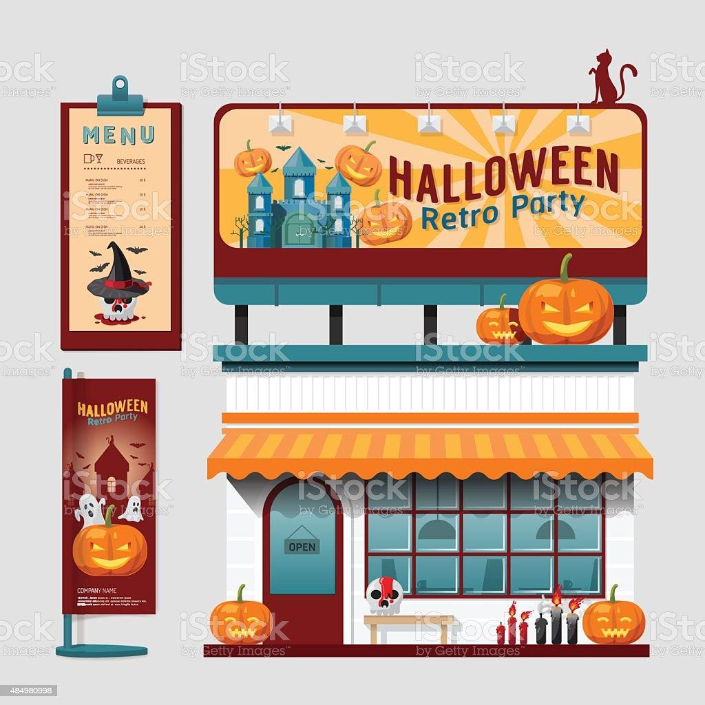 Halloween Shop Displays.Vector Restaurant Halloween Cafe Set Shop Front Design Display Stock