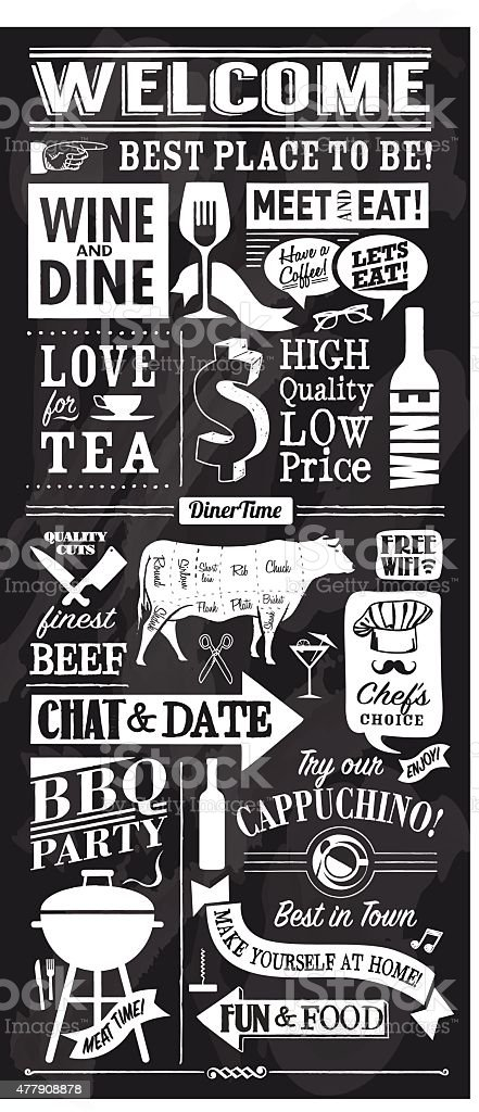 vector restaurant or bar chalkboard design vector art illustration