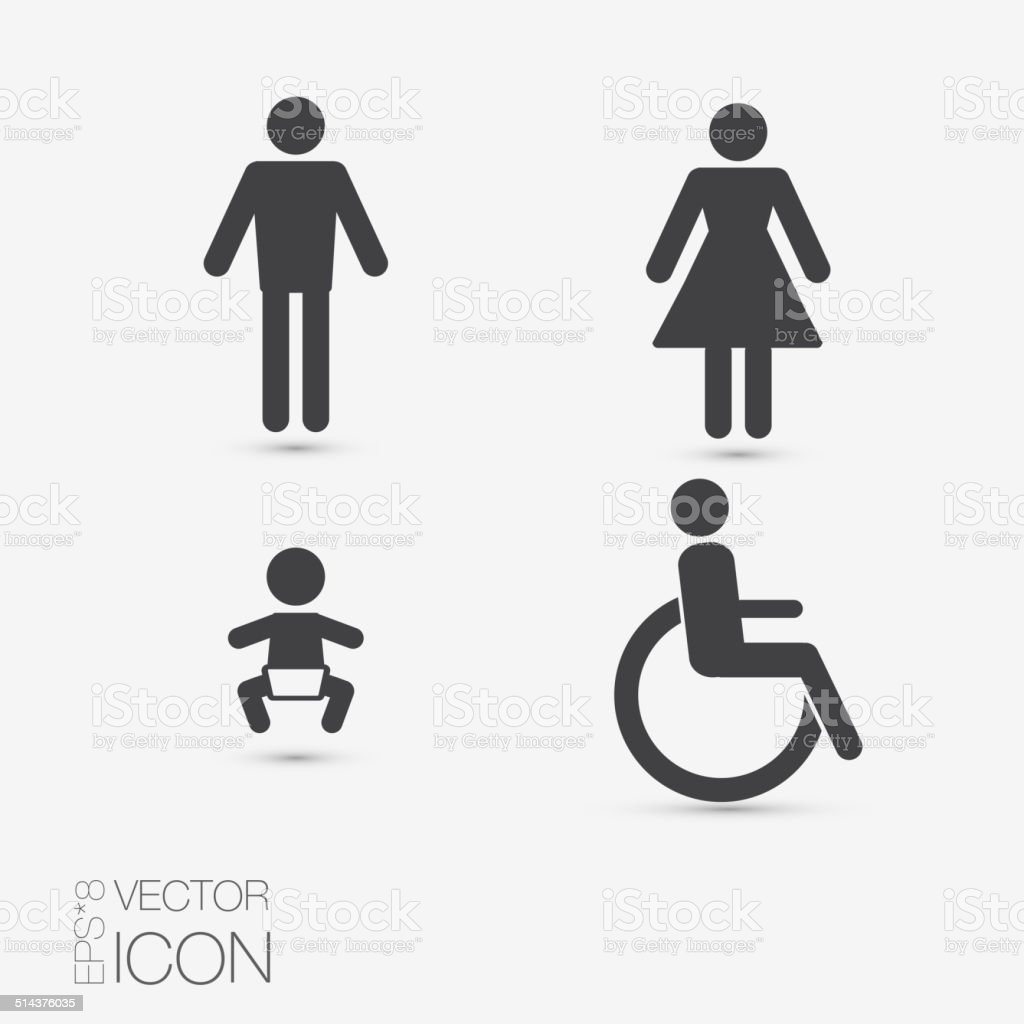 Vector restroom icons: lady, man, child and disability vector art illustration