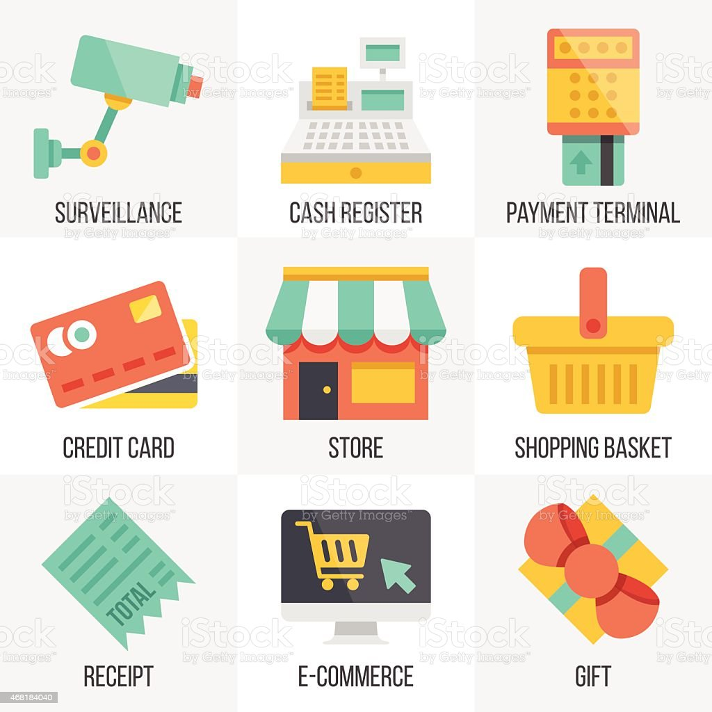 Vector retail and ecommerce icons set.  Set 6 vector art illustration