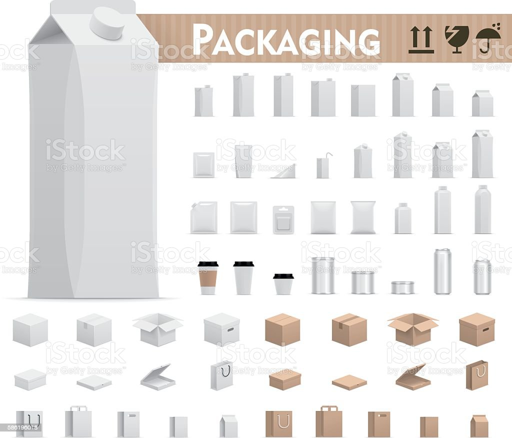 Vector retail packages set vector art illustration