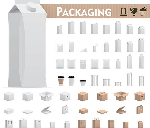 vector retail packages set - karton zbiornik stock illustrations