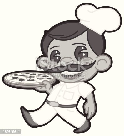 this is the black and white version of the pizza guy