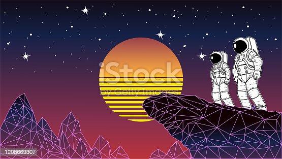 Vector Retro 1980s Space Astroanut in Vaporwave Background Stock Illustration
