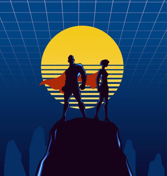 Vektor Retro 1980er Jahre Superhelden paar Silhouette Illustration – Vektorgrafik