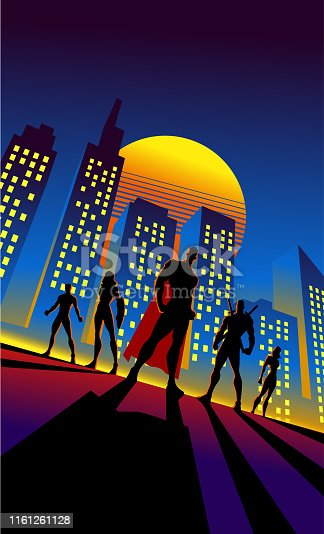 A retro 80's style superhero team illustration with city skyline in the background. Wide space available for your text.