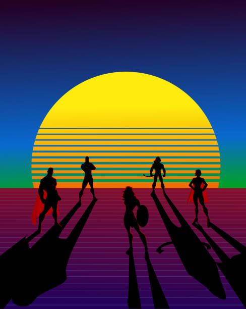 vektor retro 80er jahre stil superhelden team silhouette poster - rankgitter stock-grafiken, -clipart, -cartoons und -symbole