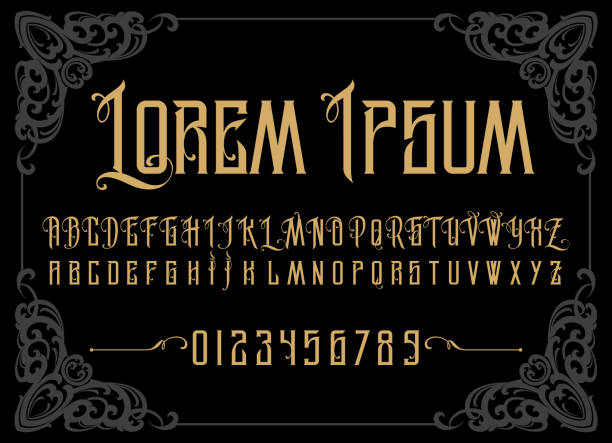Vector retro alphabet Vector retro alphabet. Vintage font. Typography for labels, headlines, posters etc. alphabet borders stock illustrations