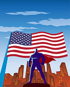 A retro style vector illustration of a superhero in silhouette with waving American flag and city skyline in the background.