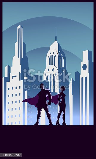 A retro art deco style vector illustration of a couple superheroes with city skyline in the background. Wode space available for your copy. Easy to edit.