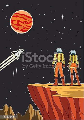 A retro style vector illustration of a couple of astronaut standing on a planet from back view while looking at vast outer space. Wide space available for your copy.