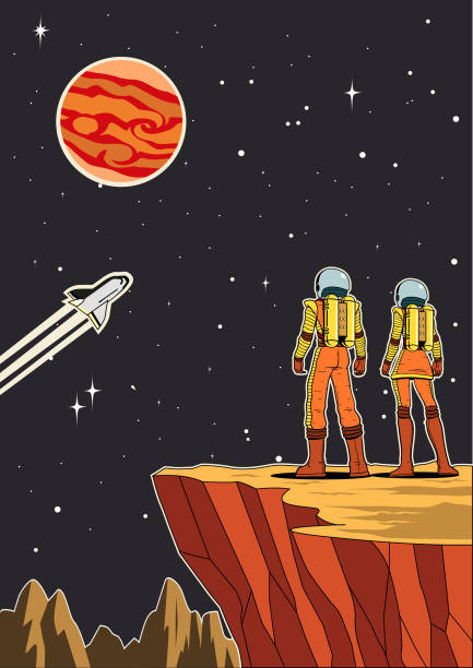 Vector Retro Astronaut Couple from Rear View on Planet With Outer Space Background Illustration A retro style vector illustration of a couple of astronaut standing on a planet from back view while looking at vast outer space. Wide space available for your copy. copy space stock illustrations