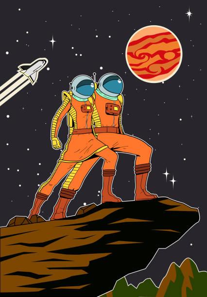Vektor Retro Astronaut Paar im Weltraum Hintergrund Poster – Vektorgrafik