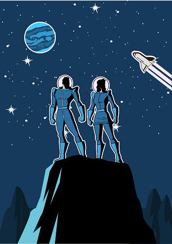 Vector Retro Astronaut Couple in Space Cartoon illustration