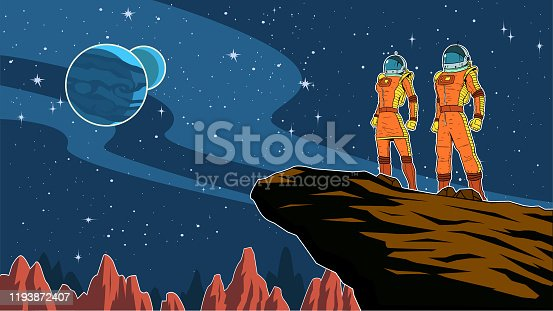A retro style vector illustration of a couple of astronauts standing on a cliff on an alien planet with outer space scenery in the background. Wide space available for your copy.