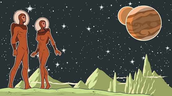 Vector Retro Astronaut Couple in Space Stock illustration