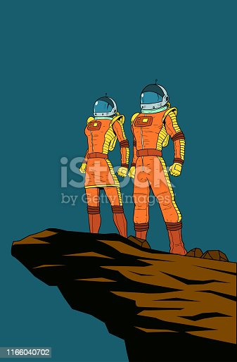 A retro style poster illustration of a couple of astronauts standing on a cliff rock. Layered and isolated in color, easy to edit.