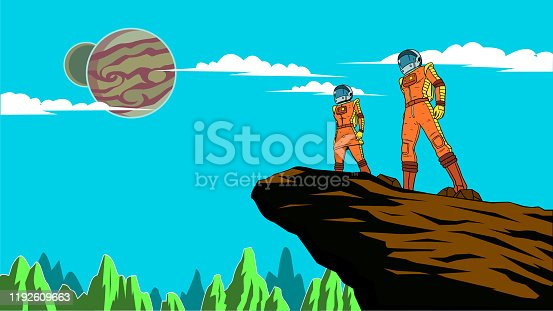 A retro style illustration of a couple of astronauts standing on a cliff on a distant planet with other planets visible in the sky. Wide space available for your copy.