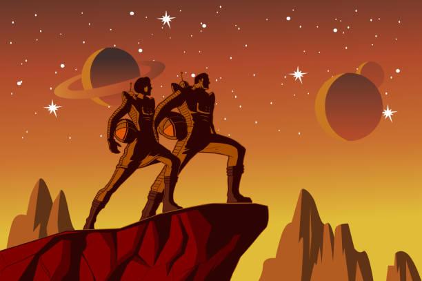 Vektor Retro Astronaut Paar auf einem Planeten Illustration – Vektorgrafik
