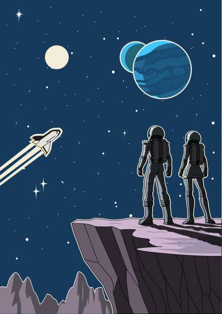 ilustrações de stock, clip art, desenhos animados e ícones de vector retro astronaut couple on a planet illustration - viagens anos 70