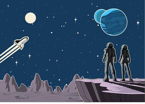 Vector Retro Astronaut Couple on a Planet Illustration