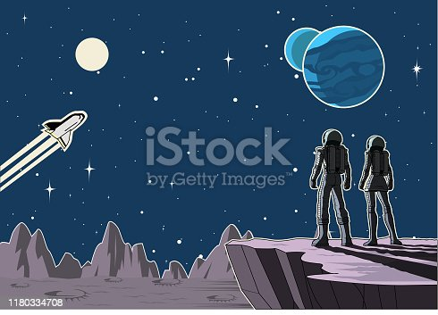 A cartoon vector illustration of a couple of astronauts standing on a cliff on a planet while looking at vast outer space in the background. Wide space available for your copy.