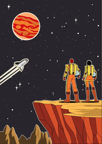 ilustrações de stock, clip art, desenhos animados e ícones de vector retro astronaut couple on a planet with helmet off - viagens anos 70