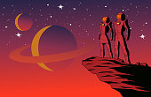 A retro style vector illustration of a couple of astronauts standing on top of a cliff on a planet with outer space background. Wide space available for your copy.