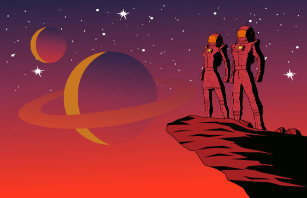 Vector Retro Astronaut Couple on a Planet with Outer Space Background Illustration A retro style vector illustration of a couple of astronauts standing on top of a cliff on a planet with outer space background. Wide space available for your copy. space stock illustrations