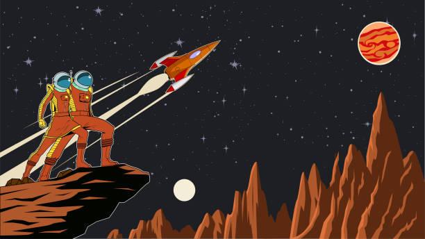 Vektor Retro Astronaut Paar auf einem Planeten mit Weltraum Hintergrund Stock Illustration – Vektorgrafik