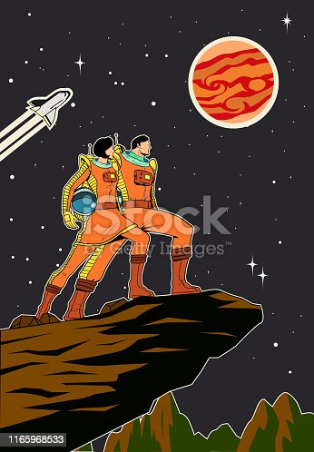 A retro style poster illustration of a couple of astronaut standing on a rocky planet with outer space and stars background.