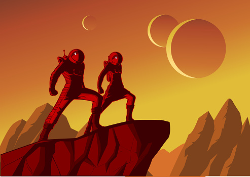 Vector Retro Astronaut Couple Poster Illustration