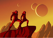 A retro style illustration of a couple of astronauts standing on a cliff in a distant planet with outer space in the background.